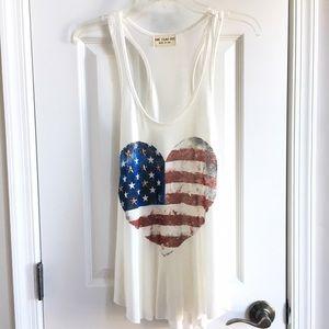 Tops - American flag heart tank (NWOT)