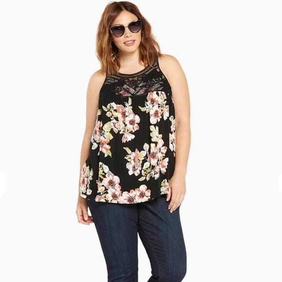 42 off torrid tops nwt torrid floral print crochet tank for Boutique tops