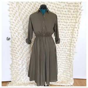 Olive Green Shirt Dress with Circle Skirt