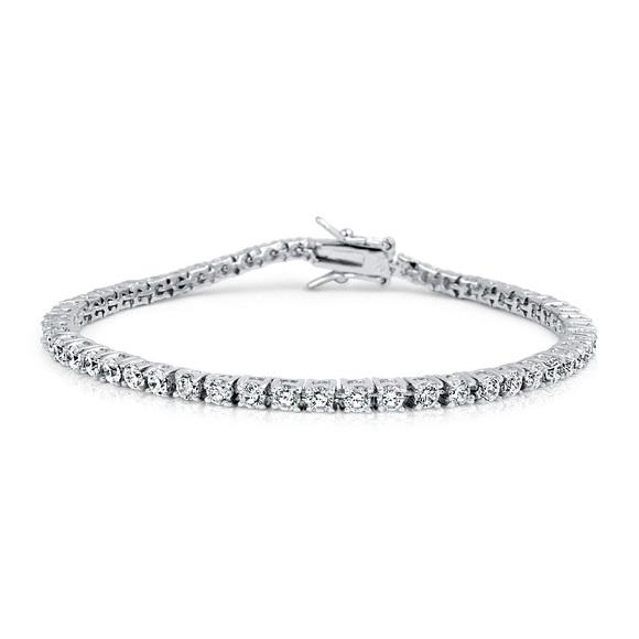 Mens White Gold Lab Diamond Tennis Bracelet