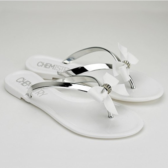 19 Off None Shoes - White, Silver  Diamond Studded Jelly -7526