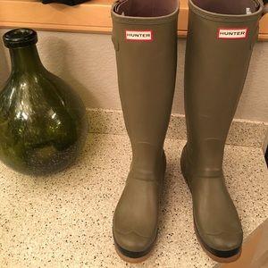 "Hunter Boots Shoes - Olive green ""HUNTER"" rain boots"