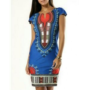 Exotic Print Blue Mini Dress sz L. Offers accepted