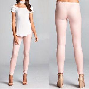 Pants - S•M Pink Blush Wax Leggings