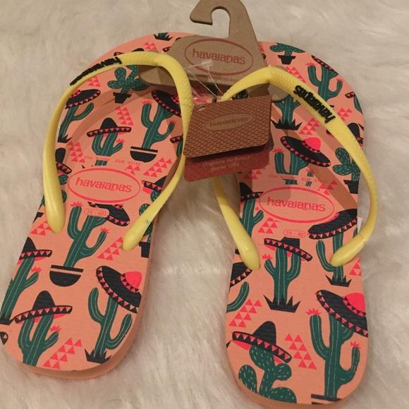 f3197fa91a8c NWT Havaianas Slim Cool Cactus Flip Flops