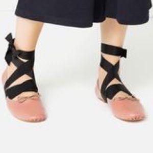 Zara Leather Ballerina Flats