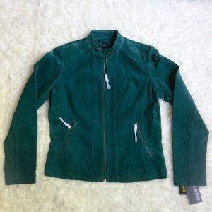 Bernardo Jackets & Blazers - NWT [Bernardo] Teal Zip Front Suede Jacket - M