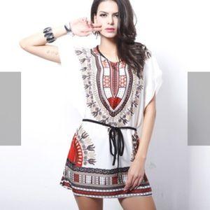Allegra K Tops - Women's Dashiki Dress/Tunic, Red and White