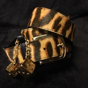Christian Dior Accessories - Christian Dior stenciled cowhide belt w/gold dice