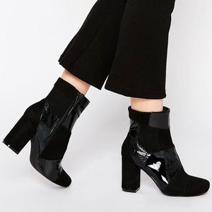 Jigsaw Patch Black Ankle Booties