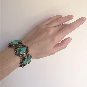 Vintage 1950s Green Cabochon Bracelet 💚