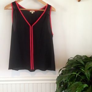 Lily White Tops - Lily White sheer black tank w/red piping
