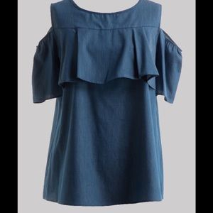 Tops - 🅿️lus size Cold shoulder chambray denim top