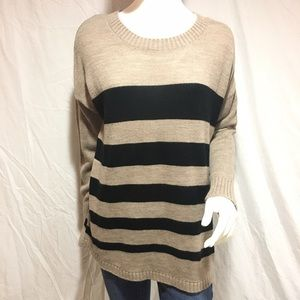 AGB Sweaters - Button back striped sweater