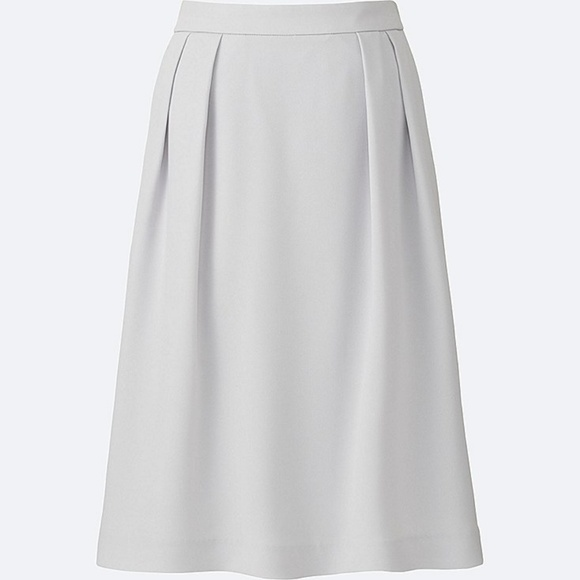 7091bb4eb Uniqlo Skirts | High Waisted Crepe Tucked Skirt Light Grey | Poshmark