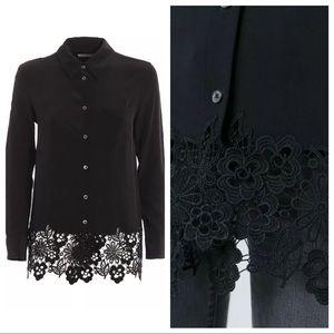 """Equipment Tops - Equipment Kate Moss """"Reese"""" Silk & Crochet Shirt"""