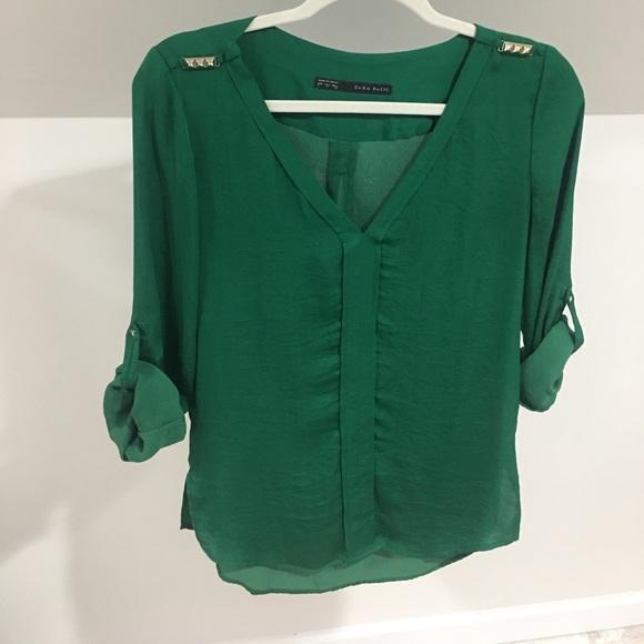 5a6c0ffc66a1 Zara Tops | Green Blouse | Poshmark