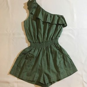 Poetry Clothing Pants - Poetry Clothing linen romper, sz jr L. Olive green
