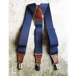 Other - 🆕 dapper gent : navy polka dot leather suspenders