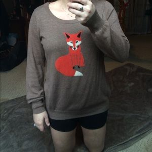 Old Navy Sweaters - Old Navy Brown sweater with a fox on it