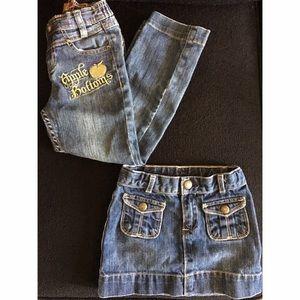 GAP Other - Girls 5T Denim Bundle Apple Bottom Jeans Gap Skirt