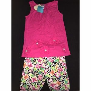 Girls 24 M Leopard Bottoms Pink Top Bundle