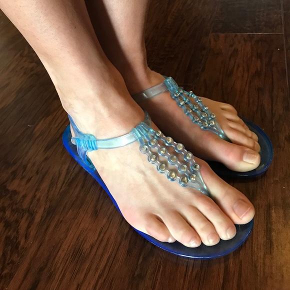 10b447d57 BCBGMaxAzria Shoes - Jellies!!! BCBGMAXAZRIA blue sandals rhinestones