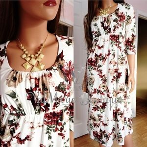 ‼️LAST 1 SZ S - SOFT BRUSHED FLORAL MIDI DRESS