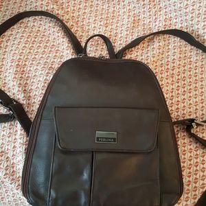 Perlina Handbags - Perlina brown leather backpack.