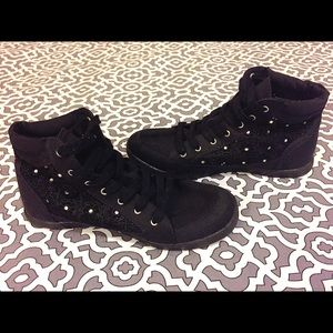 BONGO Shoes - Cute Black Ankle Boots with Diamond Studs