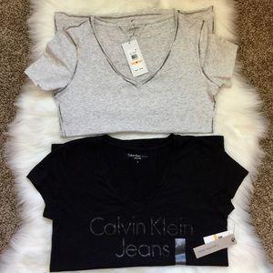 Calvin Klein V-neck T-shirts Grey & Black
