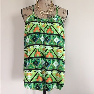 Tops - 🔥•LAST 1! Green Aztec print tank🇺🇸