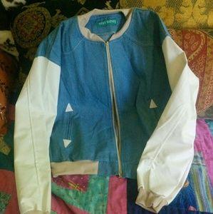Miss Sumey Jackets & Blazers - Denim Varsity Jacket