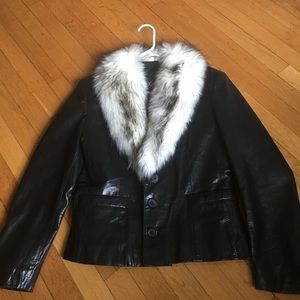 Maxima Jackets & Blazers - Real leather fur black jacket in amazing condition