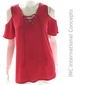 NEW INC true red cold shoulder v neck top blouse S
