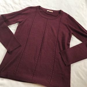 Skies Are Blue Sweaters - Skies are Blue Maroon Crew Neck Stitch Detail Top