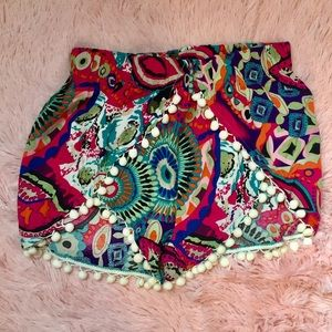 Candy Rose Pants - Multicolor Pom Pom Knit Summer Shorts
