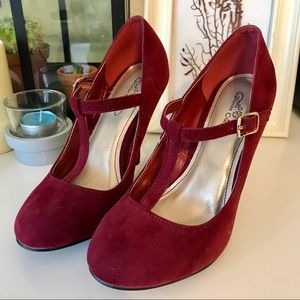Journee Collection Shoes - Journee Collection Mary Jane Heels - Red