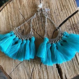 Jewelry - New turquoise tassel silver earrings boho style