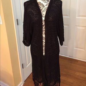 Fashion to Figure Sweaters - Fashion to Figure black Duster, 3/4 sleeves size 1
