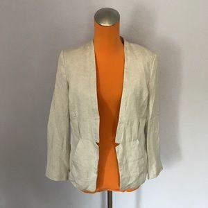 H&M Jackets & Blazers - H&M Light Cream Linen Tailored Blazer
