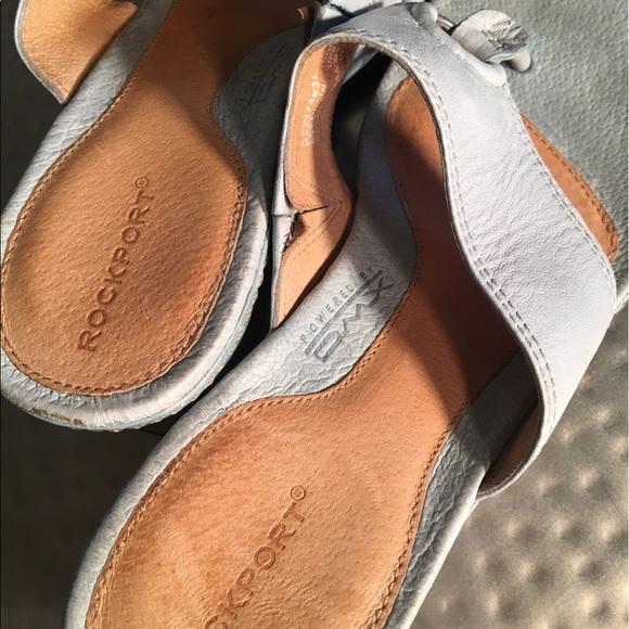 Rockport Shoes - RockPort Womens Light Blue Thong Toe Wedges