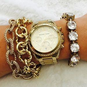 Michael Kors Blair MK-5166 Gold Tone Crystal Watch