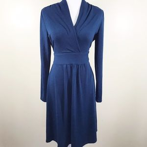 CAbi Dresses & Skirts - Cabi Chelsea teal faux wrap knit long sleeve dress