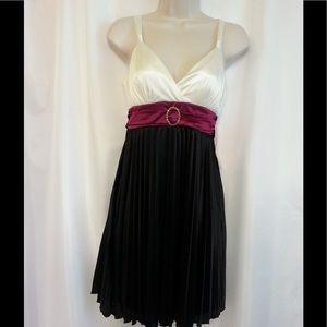 Black and Ivory Dress with Burgundy Sash.