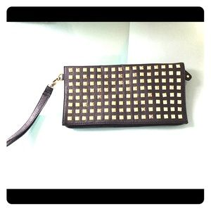 Lola Black and Gold Studded Wristlet Clutch