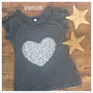 Venus Tops - VENUS sexy bling heart shoulder bare top