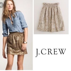 J. Crew Dresses & Skirts - Gold Sequin J Crew A-Line Skirt with Pockets