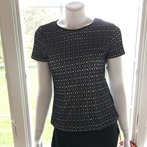 NEW VINCE CAMUTO black lacy shirt sleeve dress top