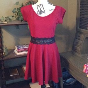Dresses & Skirts - NWOT Dark red dress with black lace detail